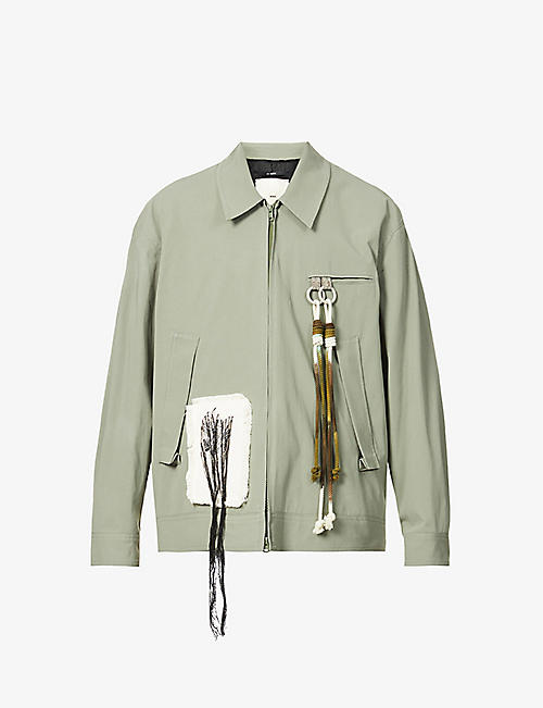 SONG FOR THE MUTE: Room rope-embroidered cotton-twill coach jacket