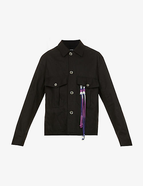 SONG FOR THE MUTE: Room embroidered cotton-twill military jacket