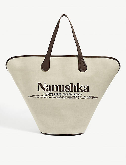 NANUSHKA: Juno large canvas and faux-leather tote bag.