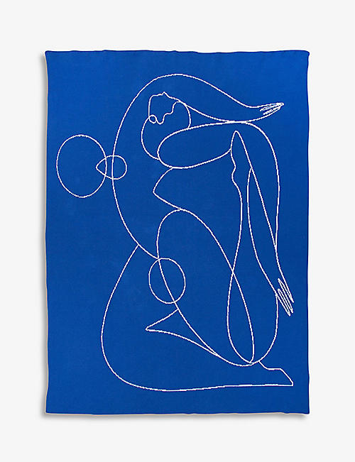 SLOW DOWN STUDIO: Jacklin graphic-print recycled cotton-blend blanket 153cm x 127cm