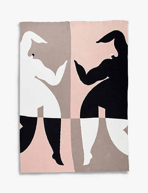 SLOW DOWN STUDIO: Barnett graphic-print organic cotton-blend blanket 153cm x 127cm