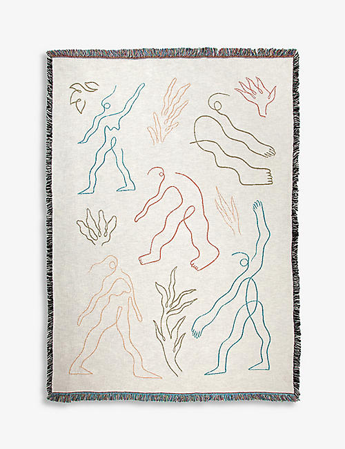 SLOW DOWN STUDIO: Haskins graphic-print recycled-cotton throw