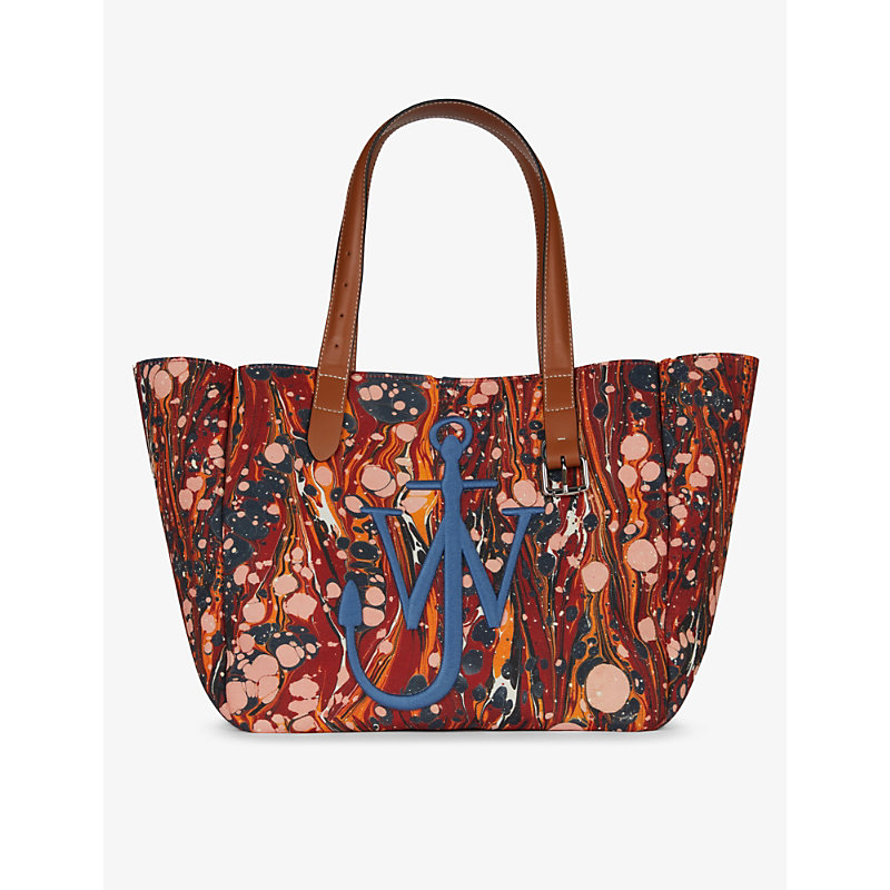 Jw Anderson Totes BELT MARBLE-PRINT RECYCLED-CANVAS TOTE BAG