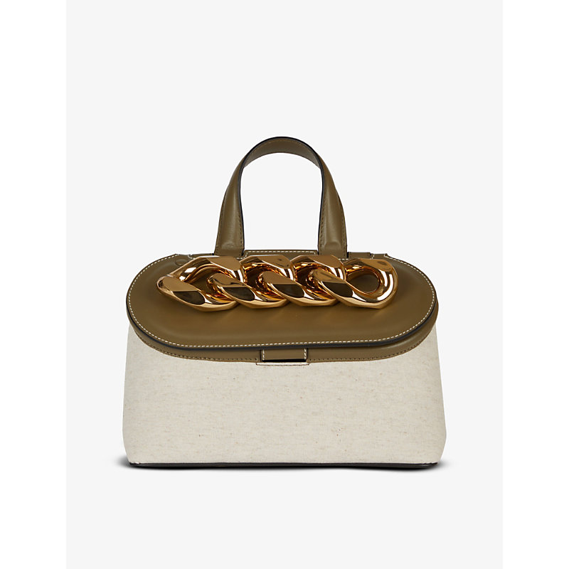 Jw Anderson Leathers CHAIN LID SMALL WOVEN AND LEATHER CROSS-BODY BAG