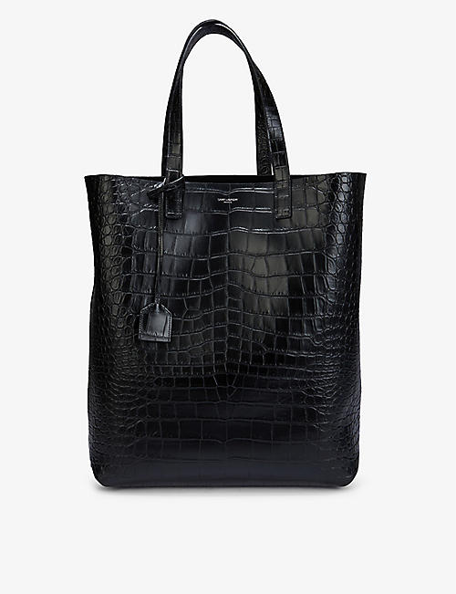 SAINT LAURENT: Logo-print croc-embossed leather shopper bag