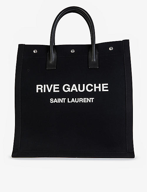 SAINT LAURENT: Rive Gauche cotton-twill shopping tote bag