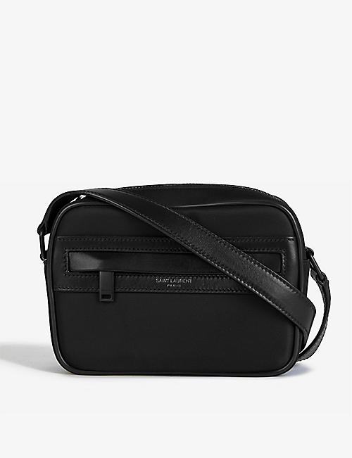 SAINT LAURENT: Camp logo-embossed shell camera bag