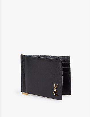 SAINT LAURENT: Portadoll brand-plaque grained-leather clip wallet