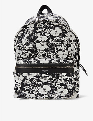 SAINT LAURENT: Floral-print cotton-canvas backpack