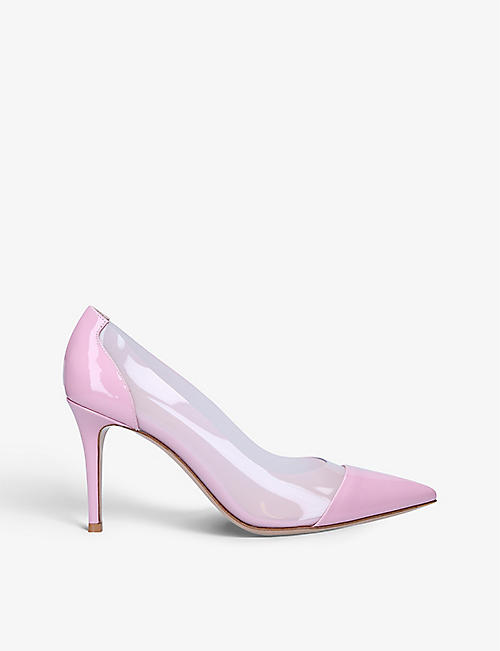GIANVITO ROSSI: Plexi leather and PVC courts