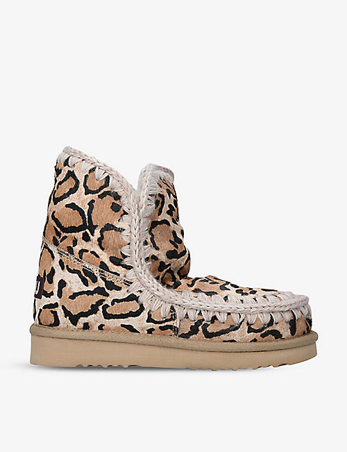 MOU: Eskimo leopard-print leather and sheepskin boots