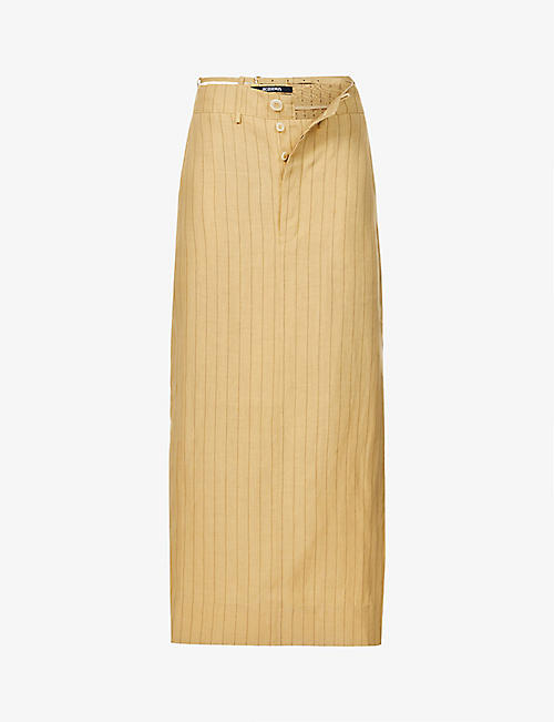 JACQUEMUS: La Jupe Terraio pinstripe high-waist hemp and wool-blend midi skirt