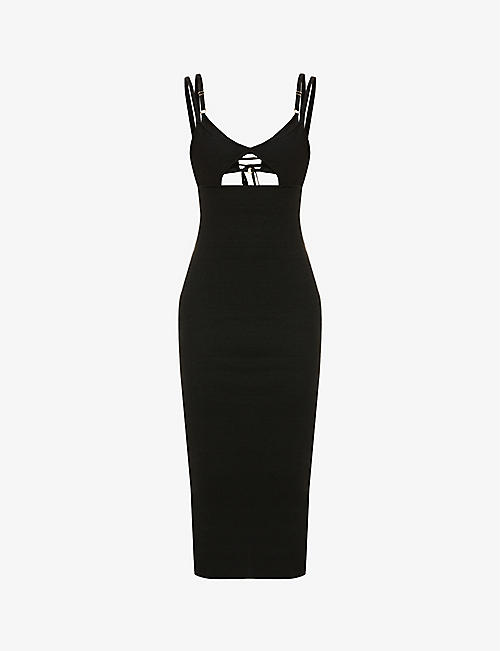 JACQUEMUS: La Robe Pila cut-out linen-knit midi dress