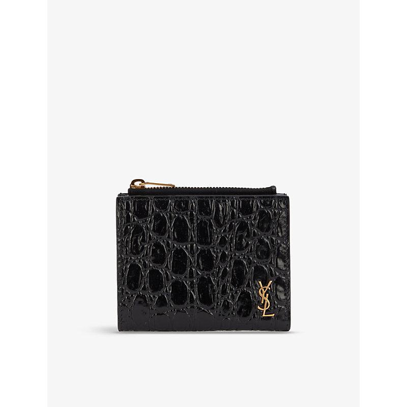 Saint Laurent Monogram Textured Leather Card Holder In Black/gold