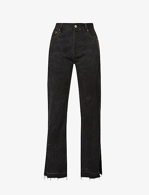 EB DENIM: Unraveled Split Hem flared high-rise jeans
