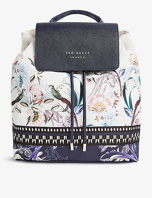 TED BAKER: Diba Decadence cotton-blend drawstring backpack