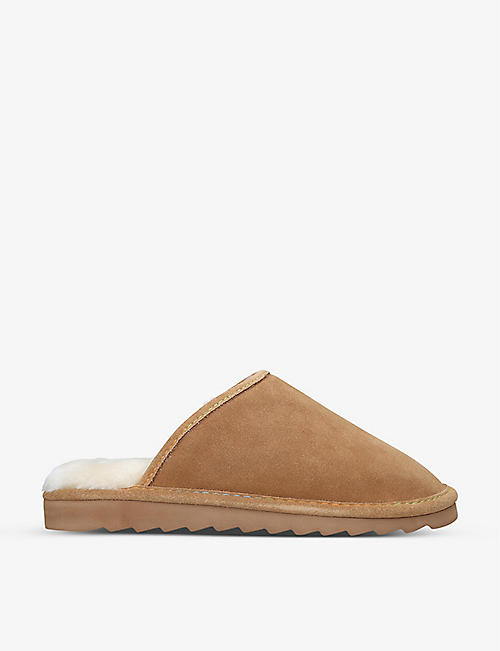 KURT GEIGER LONDON: Cosy Stitch shearling-lined suede slippers