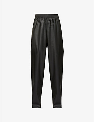 RAF SIMONS: Raf Simons Archive Redux high-rise wide relaxed-fit faux-leather jogging bottoms