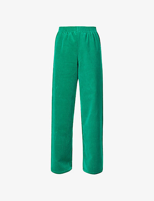 RAF SIMONS: Raf Simons Archive Redux high-rise wide relaxed-fit cotton-corduroy jogging bottoms