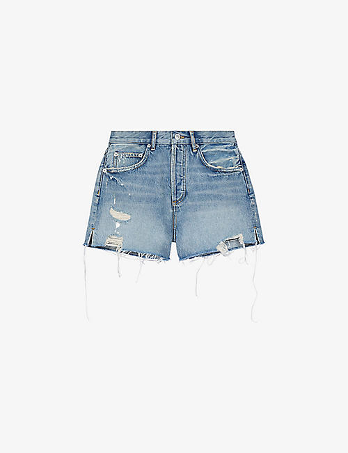 MAJE: Instinct high-rise denim shorts