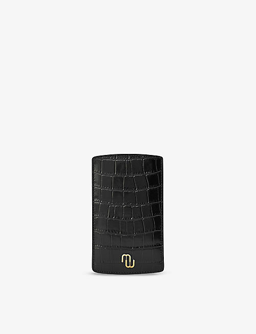 MAJE: Santo croc-embossed leather glasses case