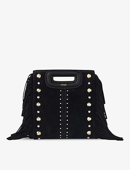MAJE: Mini M studded suede cross-body bag