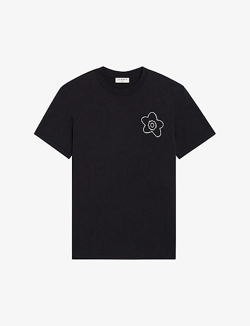 SANDRO: Flower-embroidered organic cotton-jersey T-shirt