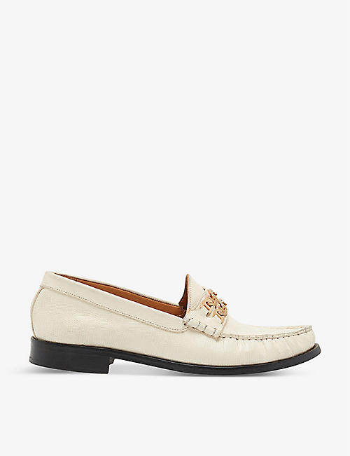 SANDRO: Max chain-trim leather loafers