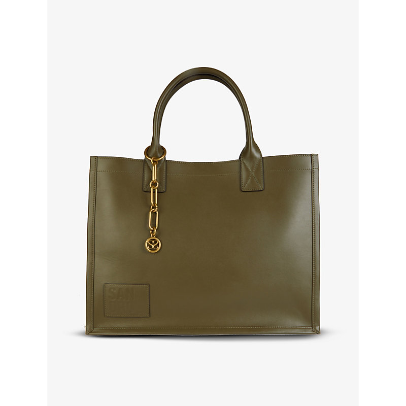 Sandro KASBHCUIR BRAND-EMBOSSED PATCH LEATHER TOTE BAG