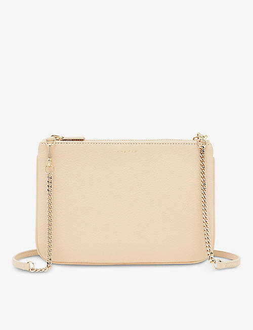 SANDRO: Addict grained-leather clutch bag