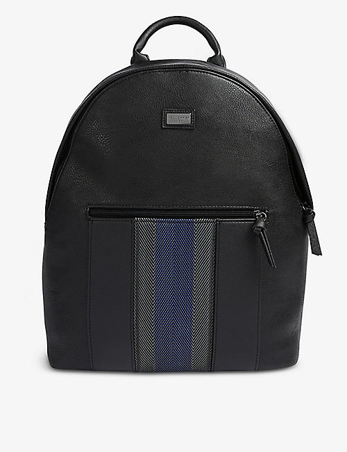 TED BAKER: Tysser striped-trim faux-leather backpack
