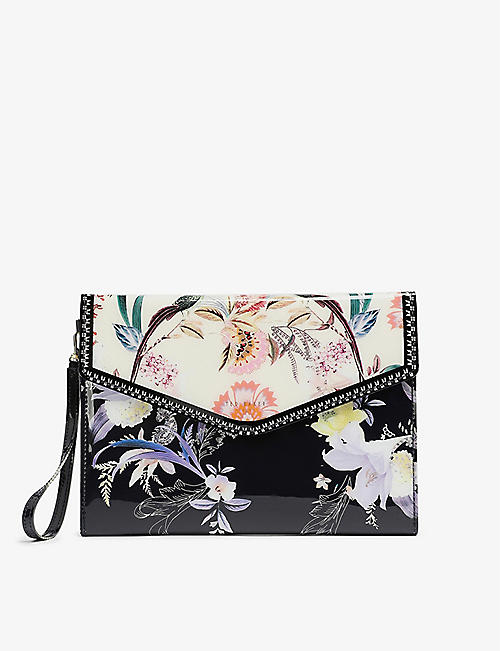 TED BAKER: Decadence floral-print vinyl pouch