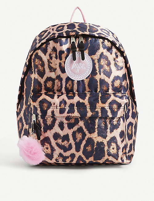 HYPE: Leopard graphic-print woven backpack