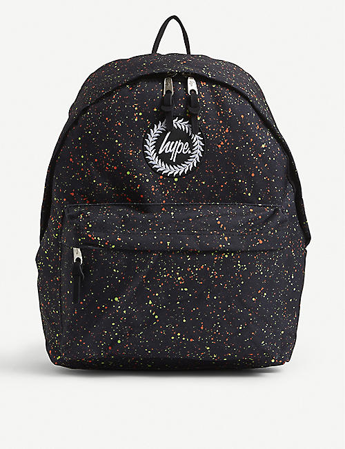 HYPE: Splat graphic-print woven backpack