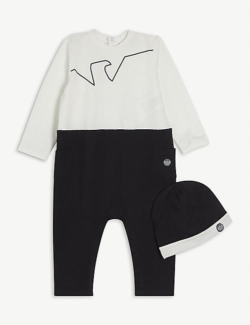 EMPORIO ARMANI: Logo-embroidered cotton-blend all-in-one set 1-12 months