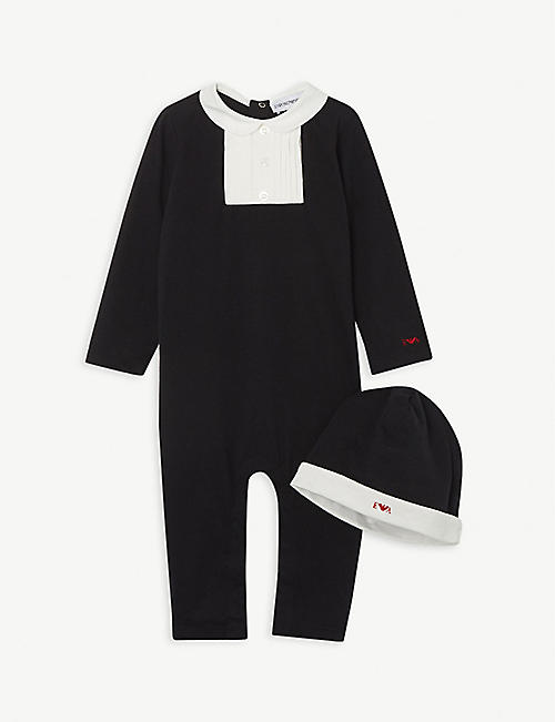 EMPORIO ARMANI: Logo-embroidered cotton babygrow and hat set 1-12 months