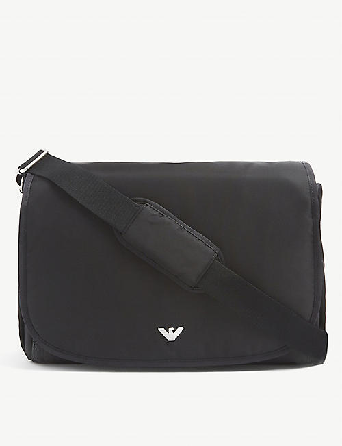 EMPORIO ARMANI: Logo-embellished woven changing bag