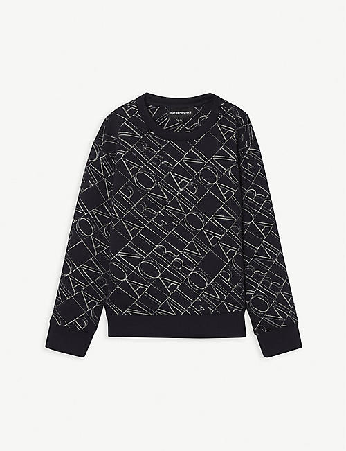 EMPORIO ARMANI: Logo-embroidered stretch-knit sweatshirt 8-16 years