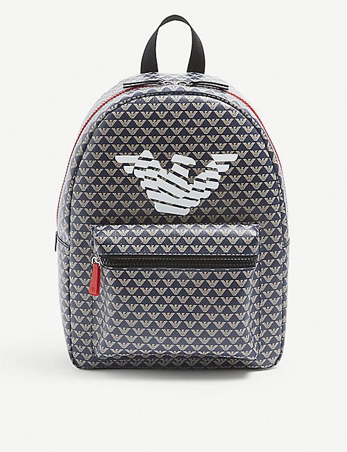 EMPORIO ARMANI: Kids logo-printed faux-leather backpack