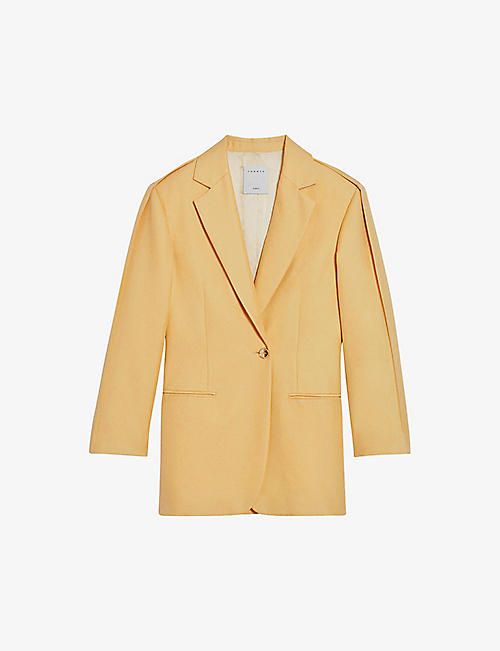 SANDRO: Ebene single-breasted satin blazer