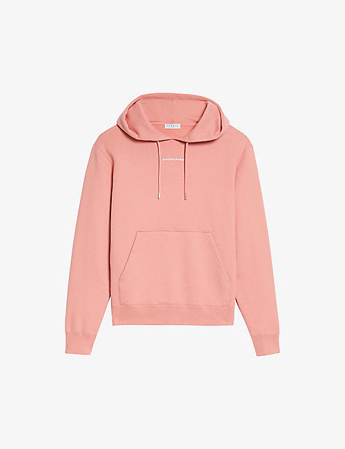 SANDRO: Logo-embroidered organic cotton-jersey hoody
