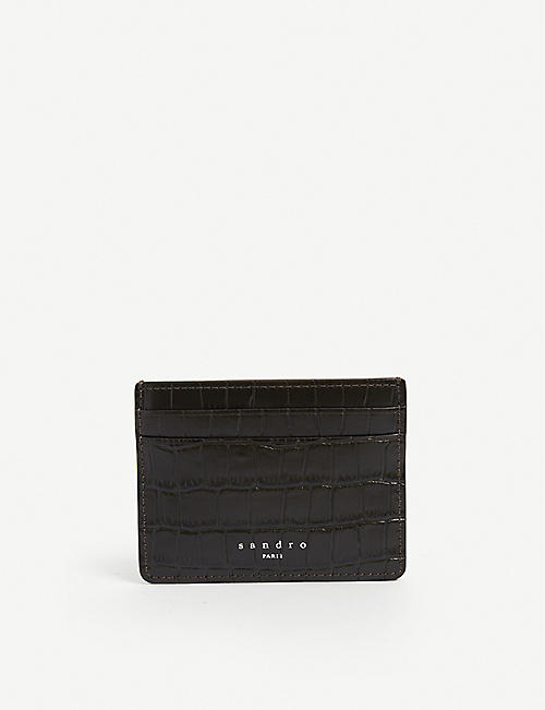 SANDRO: Crocodile-embossed leather card holder