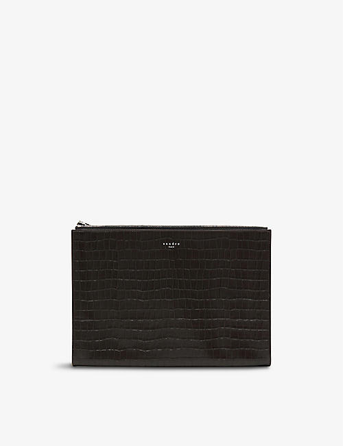 SANDRO: Crocodile-embossed leather clutch bag