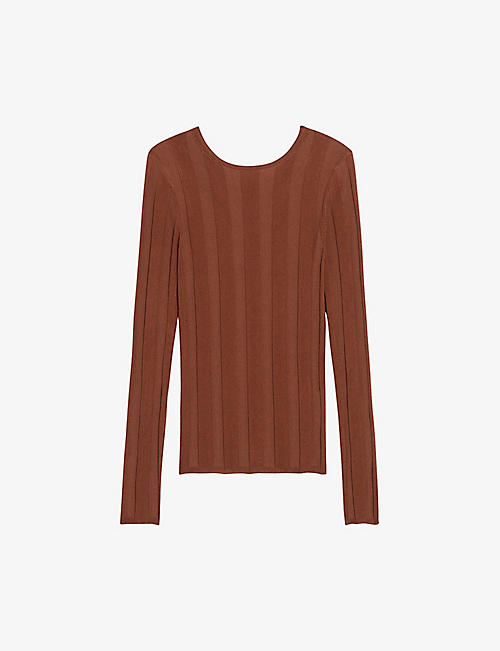 SANDRO: Anatoli twist-back long-sleeved knit jumper