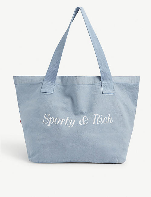SPORTY & RICH: Logo-print cotton tote bag