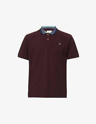 VIVIENNE WESTWOOD: Classic slim-fit striped-collar cotton polo shirt