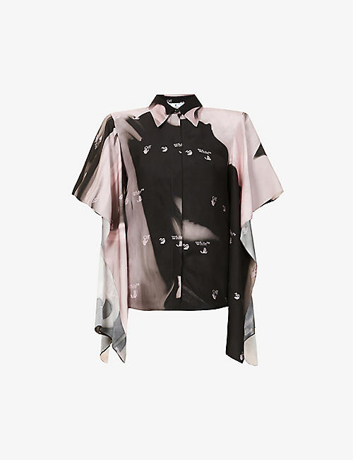 OFF-WHITE C/O VIRGIL ABLOH: Melt Waves logo-print satin shirt