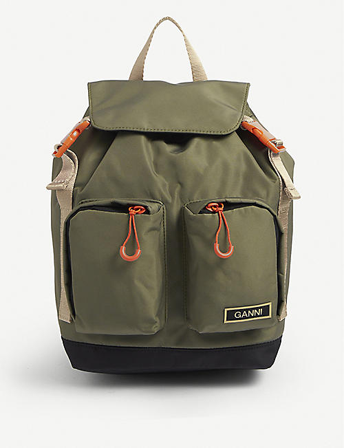 GANNI: Logo-embellished recycled-polyester backpack