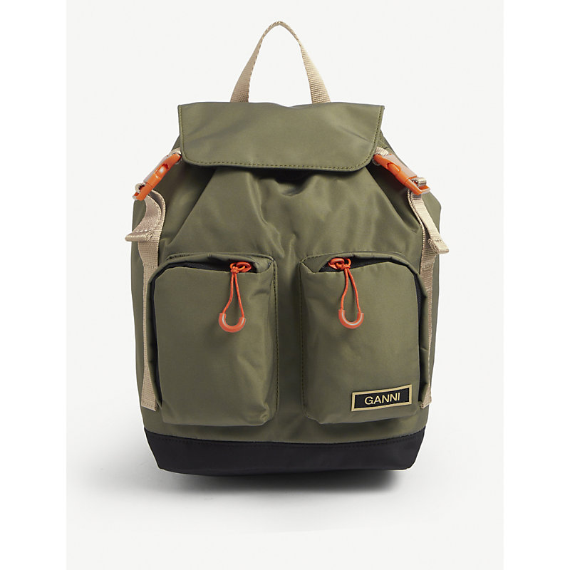 Ganni Backpacks LOGO-EMBELLISHED RECYCLED-POLYESTER BACKPACK