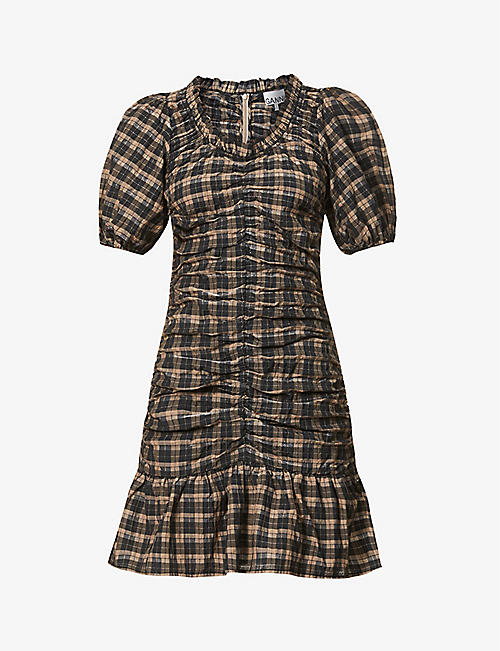 GANNI: Gingham-print organic cotton and recycled polyester-blend mini dress